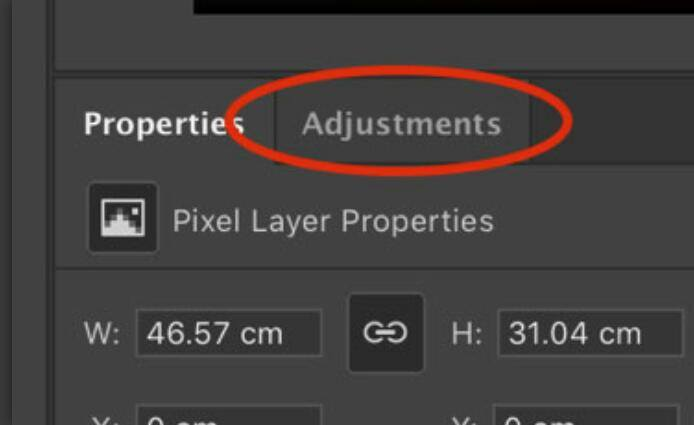 Adjustments Layer menu in photoshop