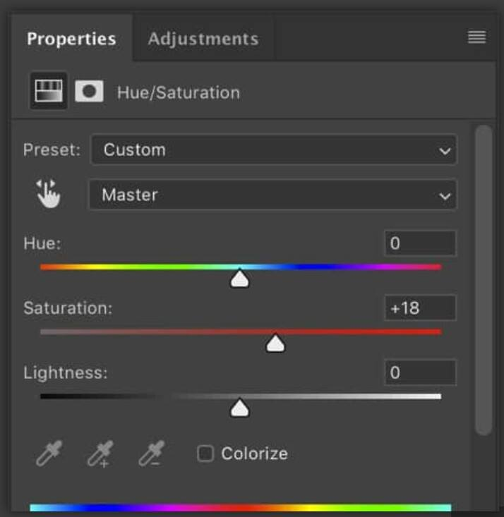 SaturationHue in photoshop