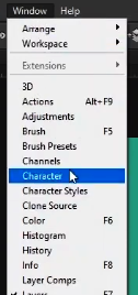 how to curve text in photoshop-character panel