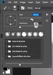 how to change skin color in photoshop-adjust the brush size