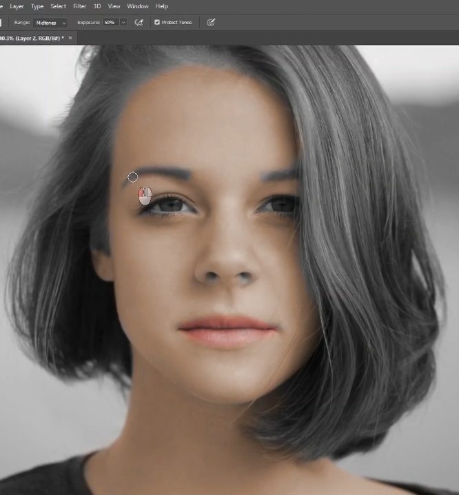 how to change skin color in photoshop-small strokes with burgs tool