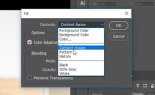 Content Aware Fill - select content aware