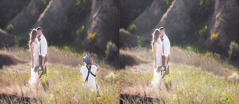 wedding photo editing - add and remove object